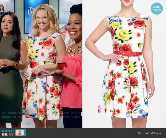 Tahari Floral Faille Fit & Flare Dress worn by Fiona Gubelmann on Daytime Divas