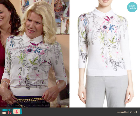 Ted Baker Kikka Passion Flower Print Sweater worn by Alley Mills on The Bold & the Beautiful