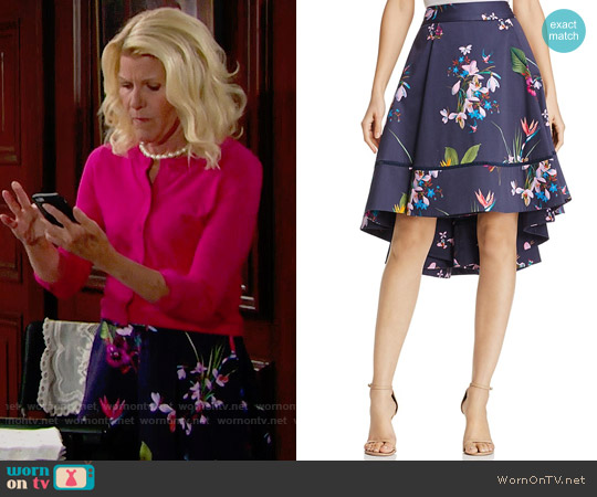 Ted Baker Tropical Oasis Floral Print High/Low Skirt worn by Pamela Douglas (Alley Mills) on The Bold & the Beautiful