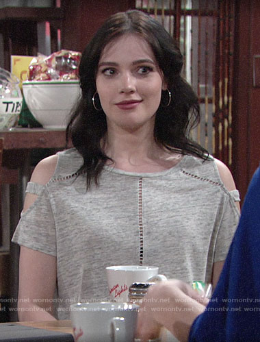 Tessa's grey cold shoulder top on The Young and the Restless