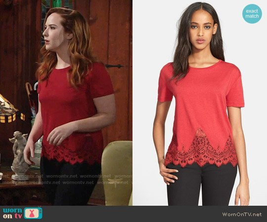 The Kooples Lace Trim Jersey Top worn by Mariah Copeland (Camryn Grimes) on The Young & the Restless