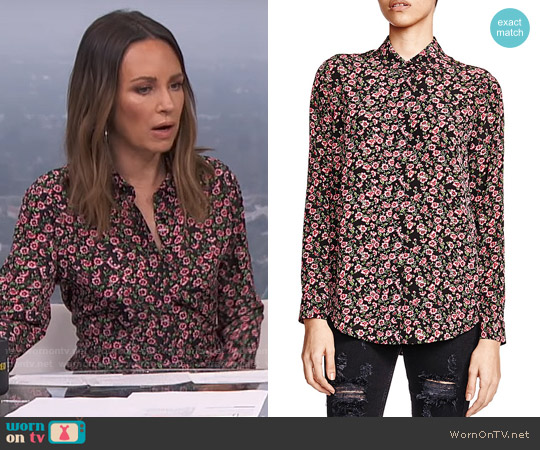 The Kooples Silk Forget-Me-Not Print Shirt worn by Catt Sadler on E! News