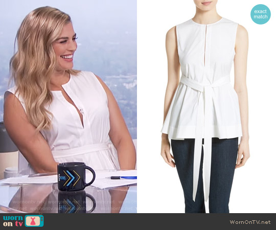 Theory Desza Top worn by Carissa Loethen Culiner on E! News