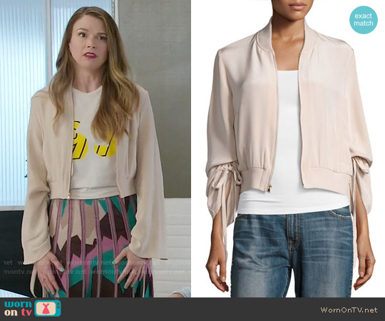 Tibi Silk Sculpted Bomber Jacket worn by Liza Miller on Younger
