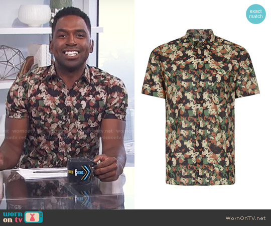 Topman Abstract Camouflage Short Sleeve Casual Shirt worn by Justin Sylvester  on E! News