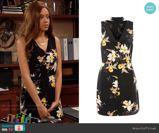Topshop Daffodil Choker Playsuit worn by Nicole Avant (Reign Edwards) on The Bold & the Beautiful
