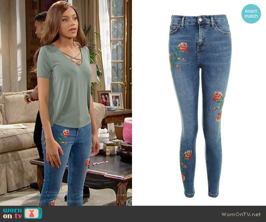 Topshop Jamie Embroidered Skinny Jeans worn by Nicole Avant (Reign Edwards) on The Bold & the Beautiful