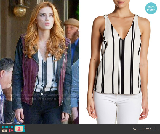 Topshop Stripe Hardware Crisscross Camisole worn by Bella Thorne on Famous in Love