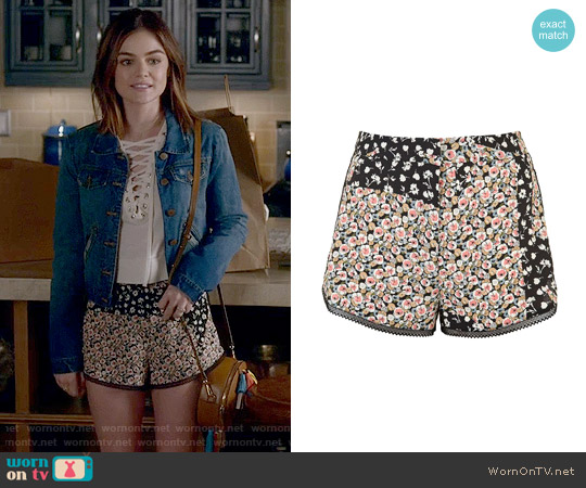 Topshop 'Ditsy' Patchwork Runner Shorts worn by Aria Montgomery (Lucy Hale) on PLL