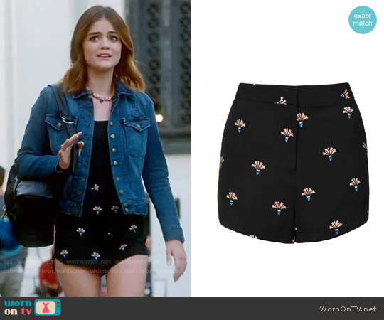 Topshop Printed Runner Shorts worn by Aria Montgomery on PLL
