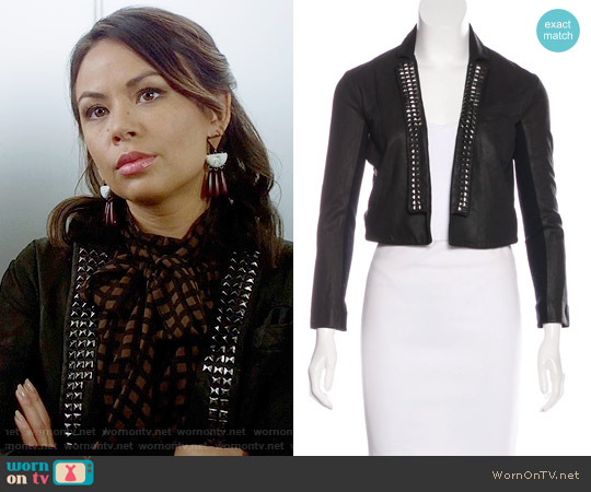 Veda Studded Leather Jacket worn by Mona Vanderwaal on PLL