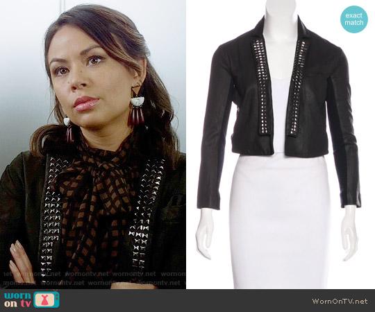 Veda Studded Leather Jacket worn by Mona Vanderwaal on PLL