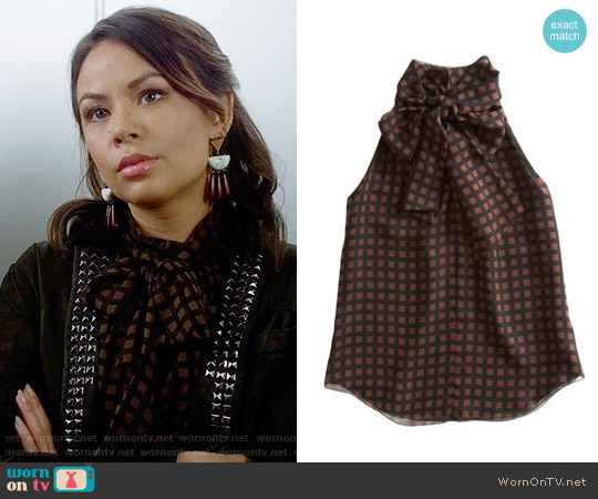 Vena Cava Square print halter tie top worn by Janel Parrish on PLL