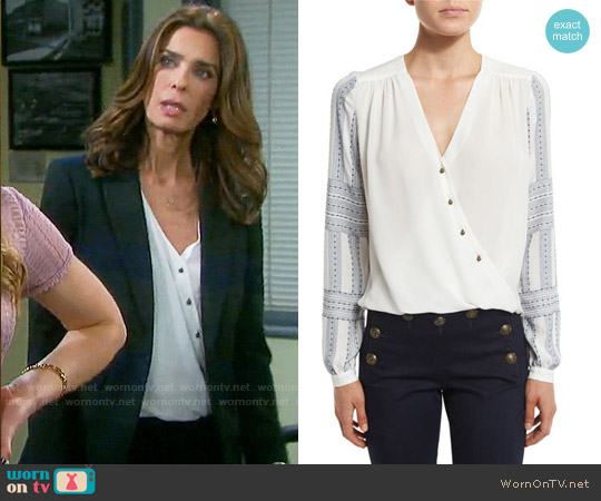 Veronica Beard Long-Sleeve Silk Boho Surplice Blouse worn by Kristian Alfonso on Days of our Lives
