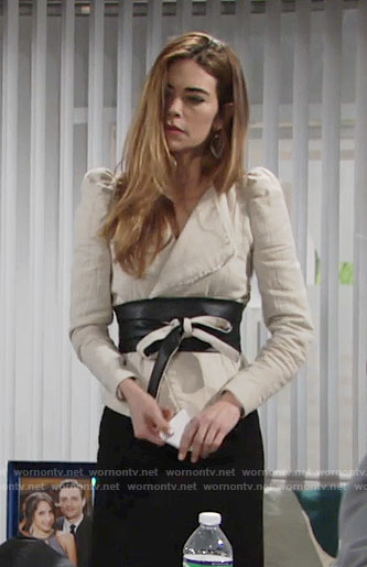 Victoria's beige jacket with black belt on The Young and the Restless