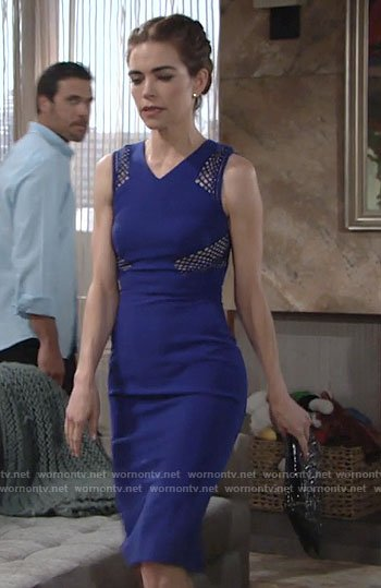 Victoria's blue mesh panel dress on The Young and the Restless