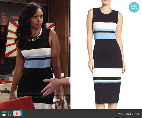 Vince Camuto Color Block Midi Dress worn by Mishael Morgan on The Young & the Restless