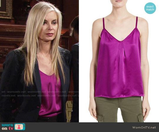 Vince Pleated Silk Camisole worn by Eileen Davidson on The Young & the Restless