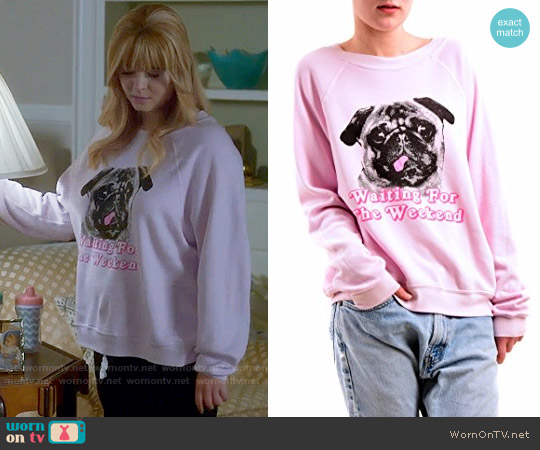 Wildfox Woof Weekend Pug Sweatshirt worn by Sasha Pieterse on PLL