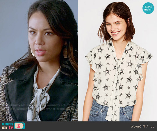 Zara Star Print Blouse worn by Mona Vanderwaal (Janel Parrish) on PLL