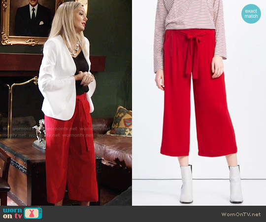 Zara Red Cropped Flowing Culottes worn by Melissa Ordway on The Young & the Restless