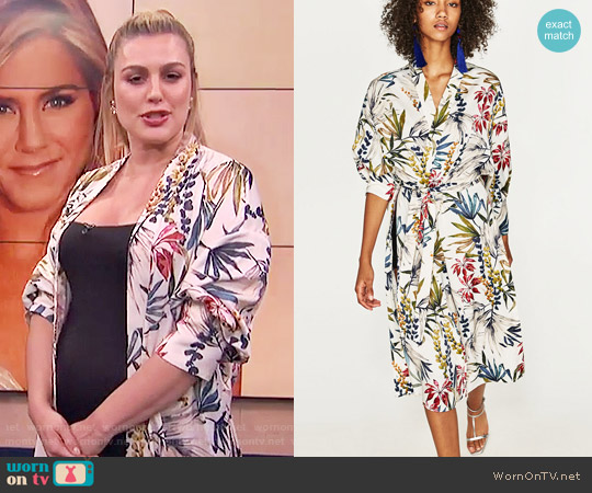 Zara Long Printed Kimono worn by Carissa Loethen Culiner on E! News