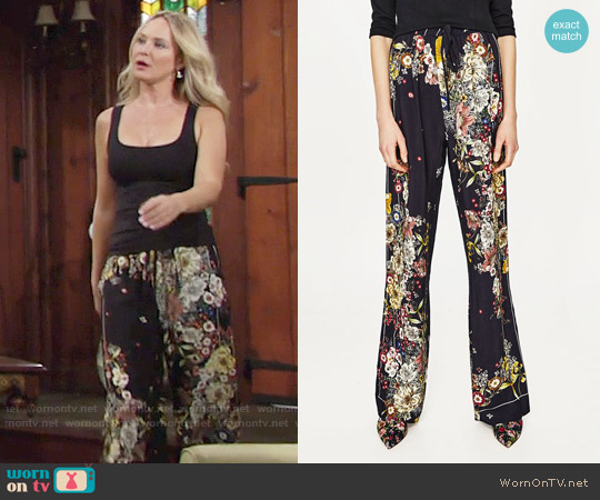 Zara Pajama Palazzo Trouser worn by Sharon Collins (Sharon Case) on The Young & the Restless