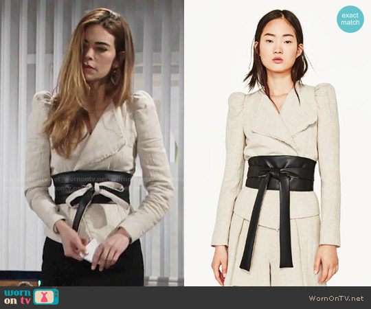Zara Short Jacket with Contrasting Sash worn by Amelia Heinle on The Young & the Restless