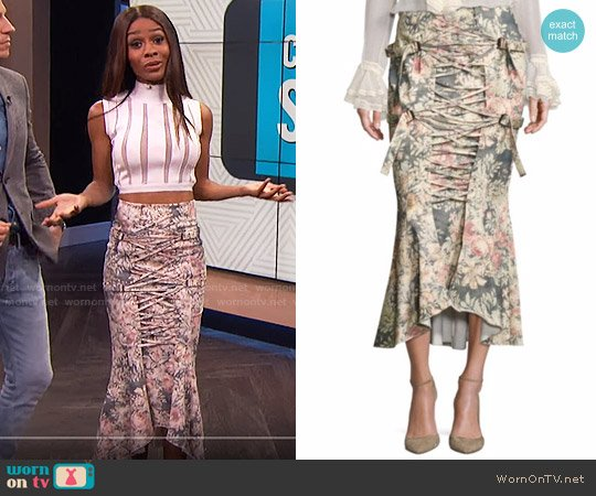 Zimmermann Cavalier Strapped Floral Skirt worn by Zuri Hall on E! News