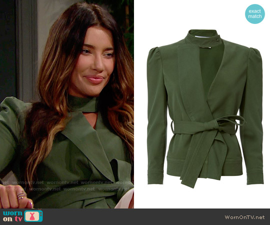 10 Crosby Derek Lam Ruffle Twill Belted Jacket worn by Jacqueline MacInnes Wood on The Bold & the Beautiful