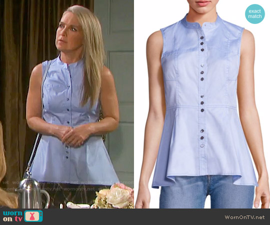 10 Crosby Derek Lam Cotton Peplum Blouse worn by Melissa Reeves on Days of our Lives