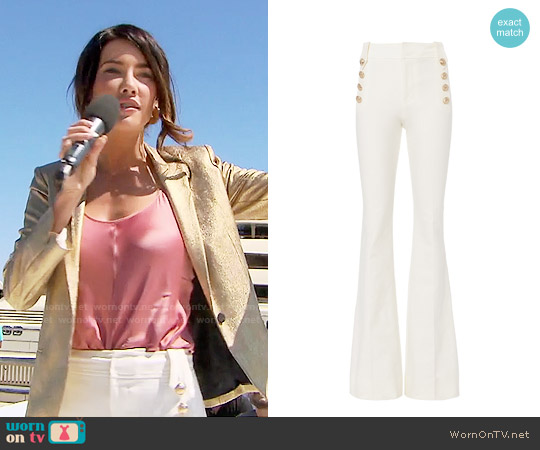 10 Crosby by Derek Lam Flare Sailor Trousers worn by Jacqueline MacInnes Wood on The Bold & the Beautiful