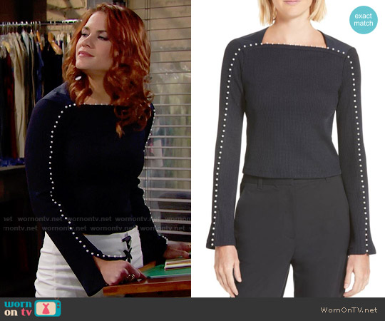 3.1 Phillp Lim Faux Pearl Trim Rib Knit Top worn by Sally Spectra (Courtney Hope) on The Bold & the Beautiful