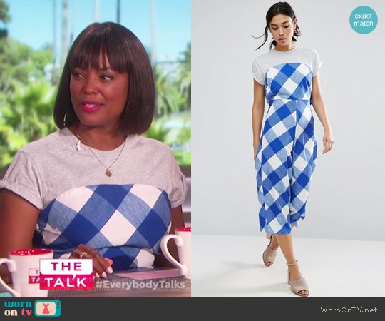 Jumpsuit in Gingham with Jersey T-Shirt by ASOS worn by Aisha Tyler on The Talk