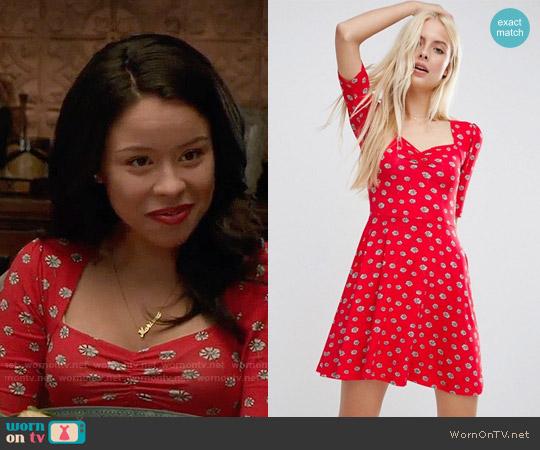 ASOS Sweetheart Skater Dress In Red Daisy Print worn by Cierra Ramirez on The Fosters