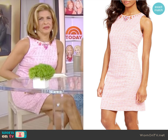 Beaded Neck Onassis Tweed Shift Dress by Adrianna Papell worn by Hoda Kotb on Today