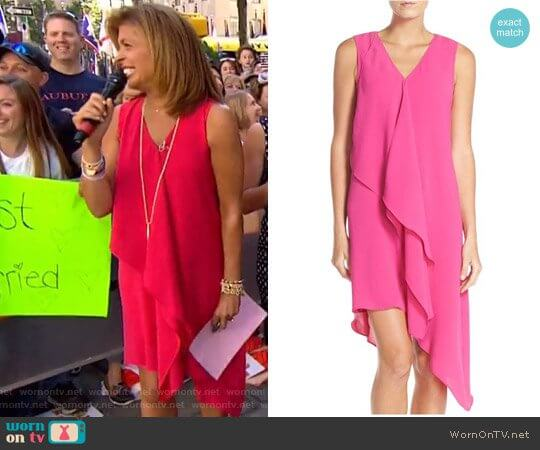 Ruffle Front Crepe High/Low Dress by Adrianna Papell worn by Hoda Kotb on Today