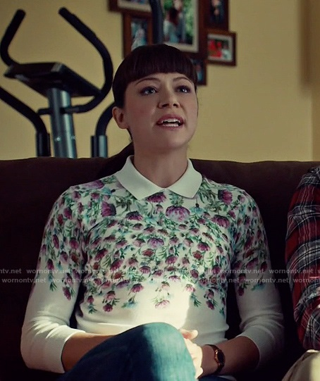 Alison's white floral collared sweater on Orphan Black