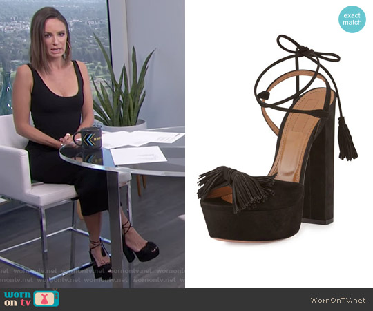 Wild One Tassel Sandal by Aquazzura worn by Catt Sadler on E! News