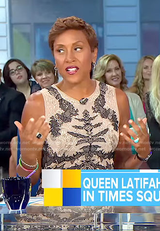 Robins' beige and black lace sheath dress on Good Morning America
