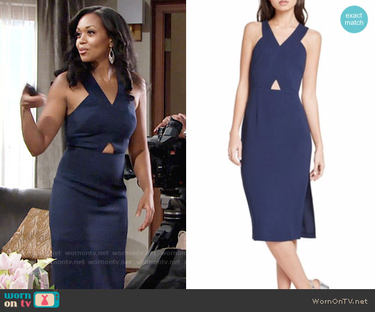 Bcbgeneration Crisscross Midi Dress worn by Mishael Morgan on The Young & the Restless