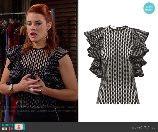 Beaufille Desina Flounce Sleeve Perforated Knit Tank worn by Sally Spectra (Courtney Hope) on The Bold & the Beautiful