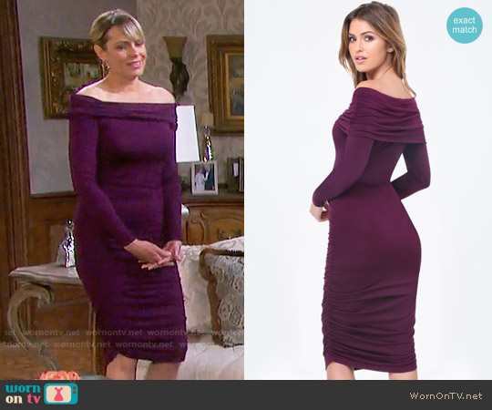Bebe Ruched Off Shoulder Dress worn by Arianne Zucker on Days of our Lives