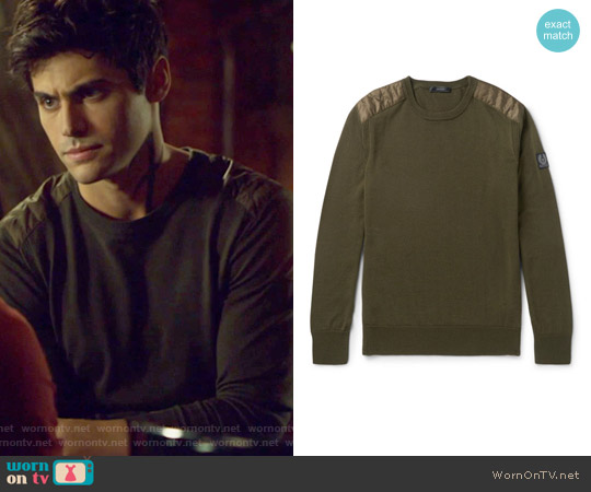 Kerrigan Quilted Shell Trimmed Virgin Wool Sweater by Belstaff worn by Alexander Lightwood (Matthew Daddario ) on Shadowhunters