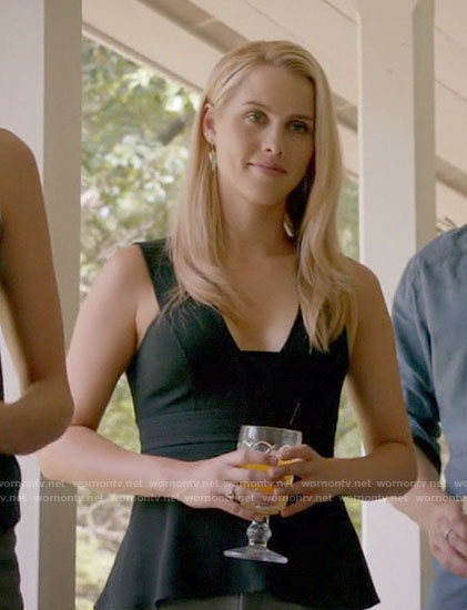Rebekah's black peplum top on The Originals