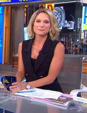 Amy's black sleeveless blazer dress on Good Morning America