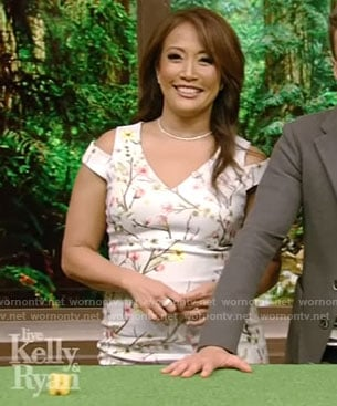 Carrie's blue cherry blossom sheath dress on Live With Kelly