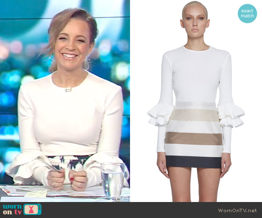 Ribbed Double Frill Sweater Top by By Johnny. worn by Carrie Bickmore (Carrie Bickmore) on The Project
