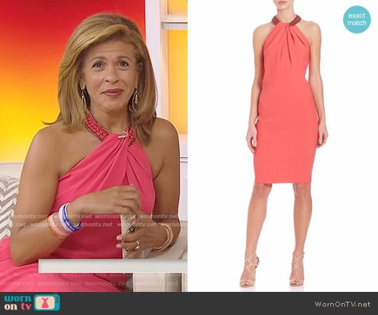 Beaded Neck Toga Dress by Carmen Marc Valvo worn by Hoda Kotb on Today