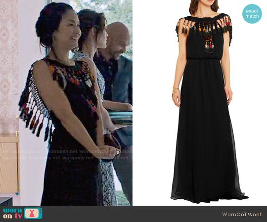 Celia Dragoun Tasseled silk-chiffon maxi dress worn by Marianne (Jae Suh Park) on Friends from College